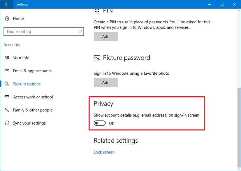 Hide email address on the Lock screen on Windows 10