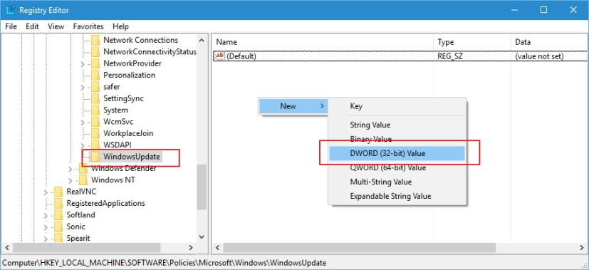 Create DWORD inside WindowsUpdate Registry key