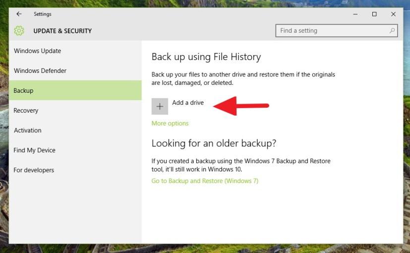 File History - Add a drive