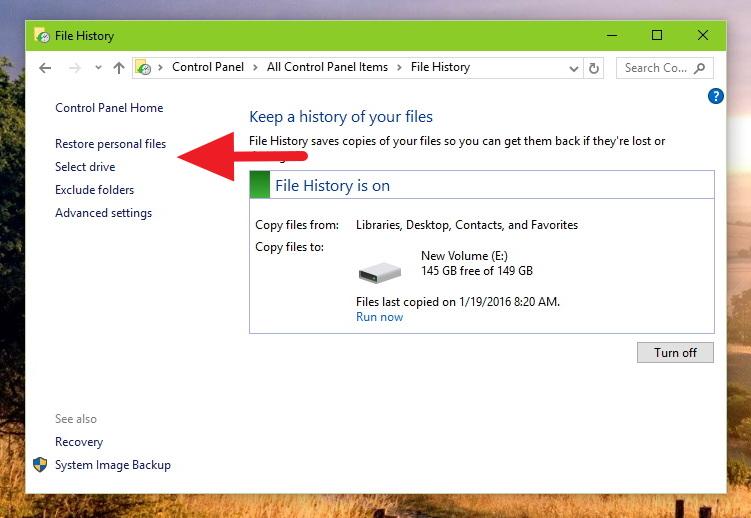 File History - Control Panel - Select Drive