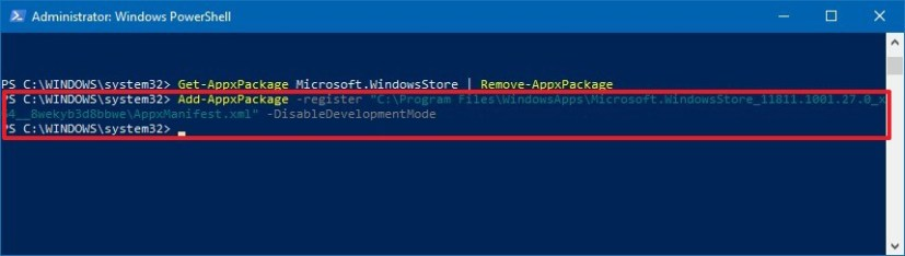 Reinstall the Microsoft Store app using PowerShell