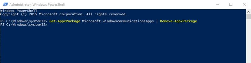 Remove Mail and Calendar apps from Windows 10 command