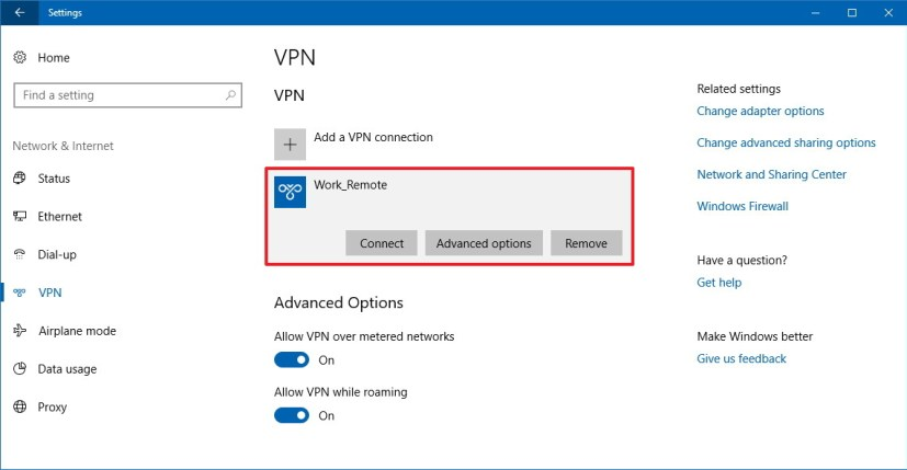 Windows 10 remote connection using VPN