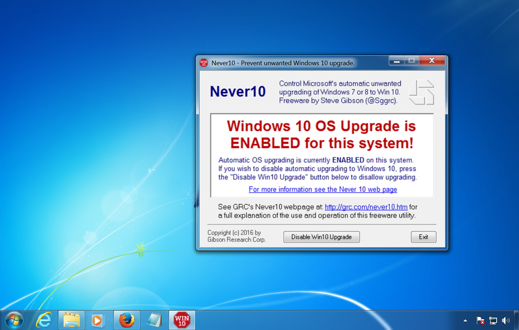 Never10 tool to stop the Windows 10 upgrade