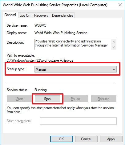 Stop and set Manual settings for World Wide Web Publishing Service