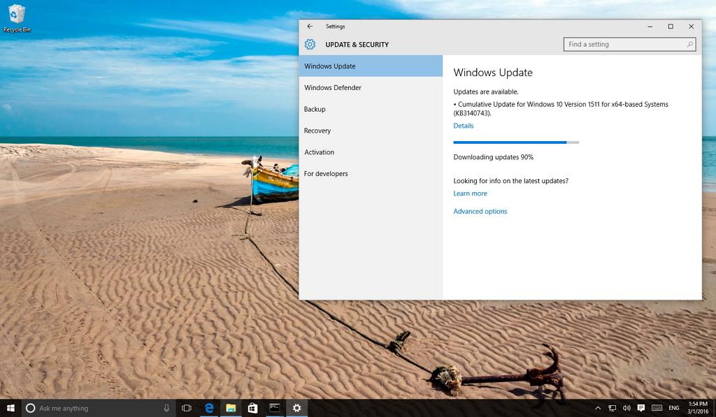 Windows 10 cumulative update KB3140743