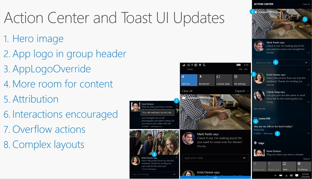 Action Center and Toast Notifications updates for Windows 10