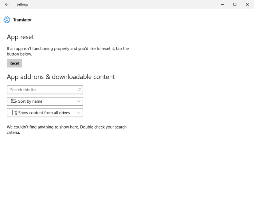 App Reset on Windows 10 Anniversary Update