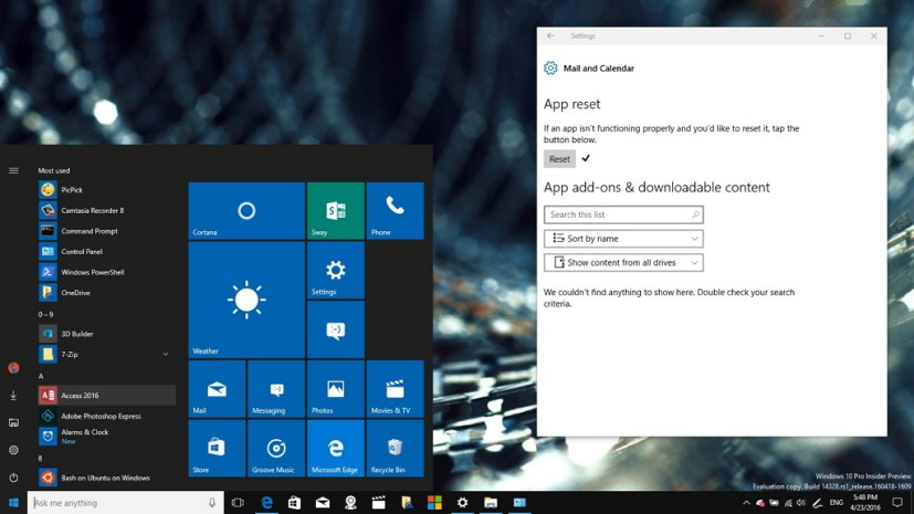 App reset on Windows 10