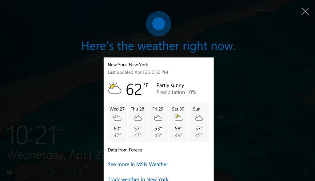 Cortana on the Lock screen on Windows 10 Anniversary Update
