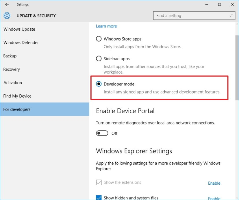 Developer Mode settings to enable Bash on Windows