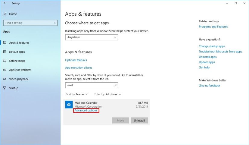 Windows 10 Apps & features settings