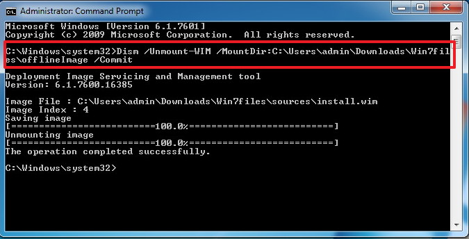 DISM unmount Windows 7 image command