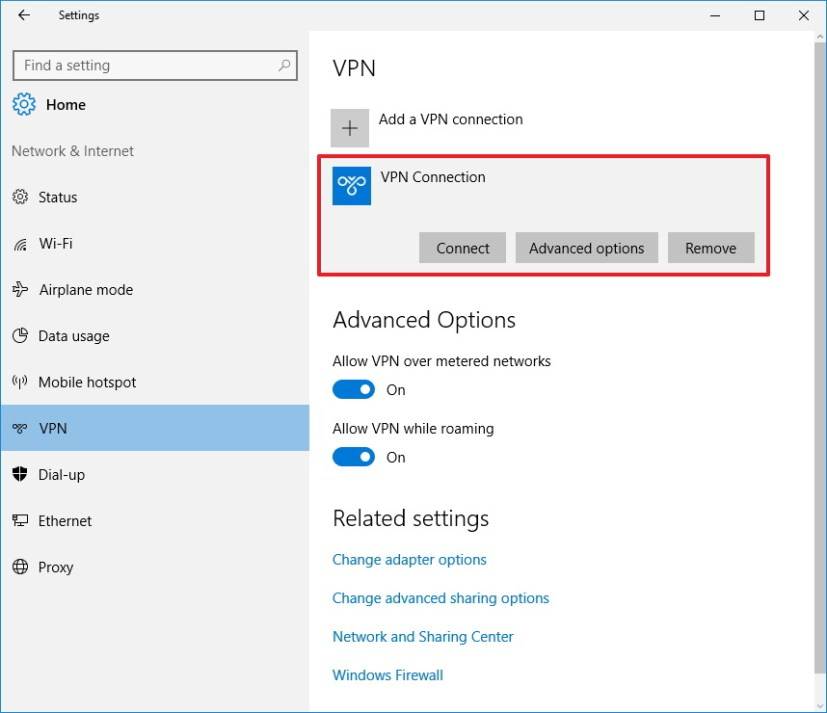 Connect to a VPN through the Settings app on Windows 10