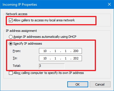 Incoming IP Properties for VPN access