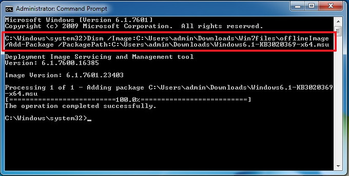 Integrating KB3020369 update into the Windows 7 ISO