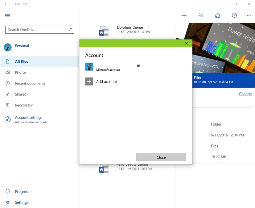 OneDrive universal app with multiple accounts support on Windows 10
