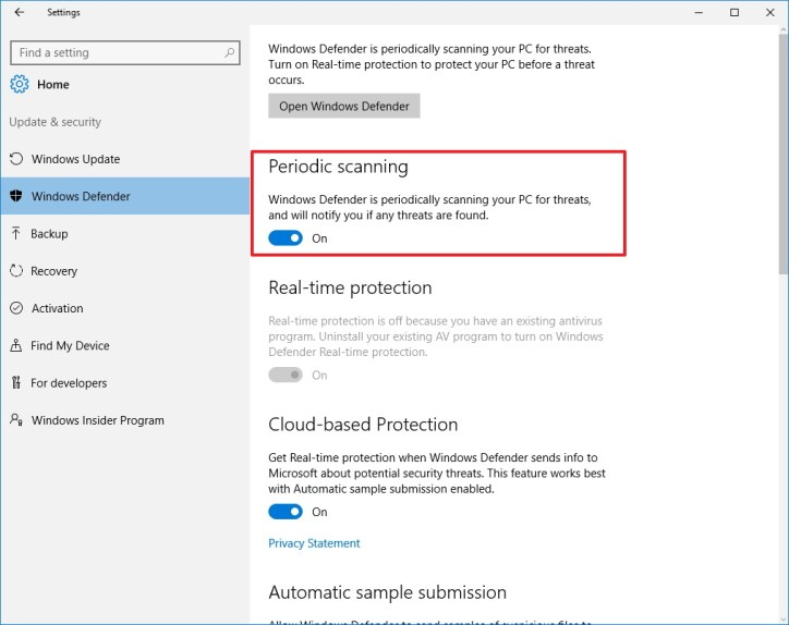 Periodic scanning feature on Windows Defender