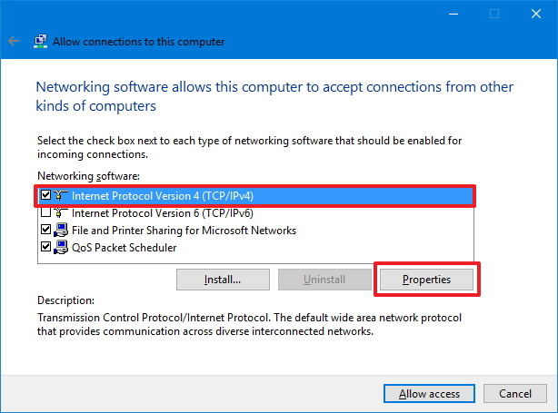 Set up VPN on Windows 10 TCP/IP properties