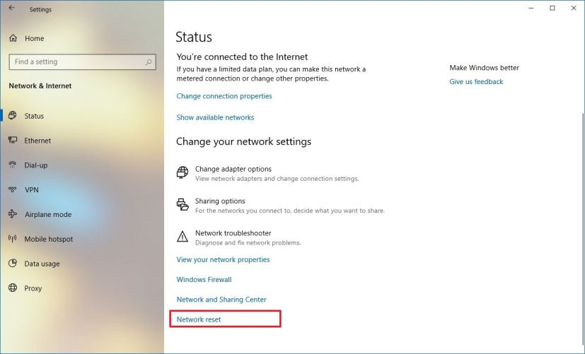 Status settings, Network reset on Windows 10