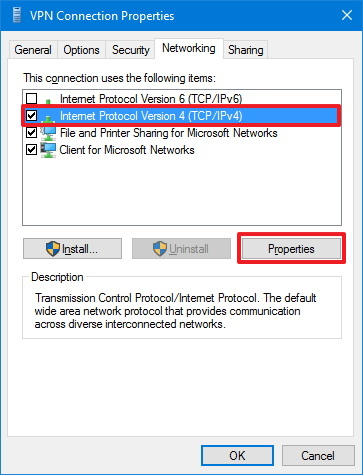 VPN Connection Networking options on Windows 10