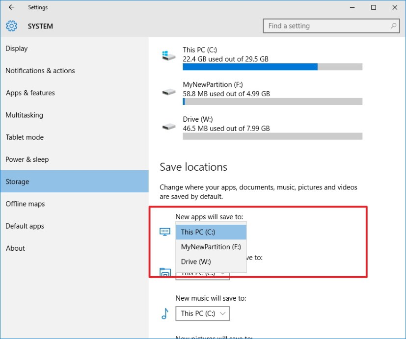 Change the default location to install apps on Windows 10
