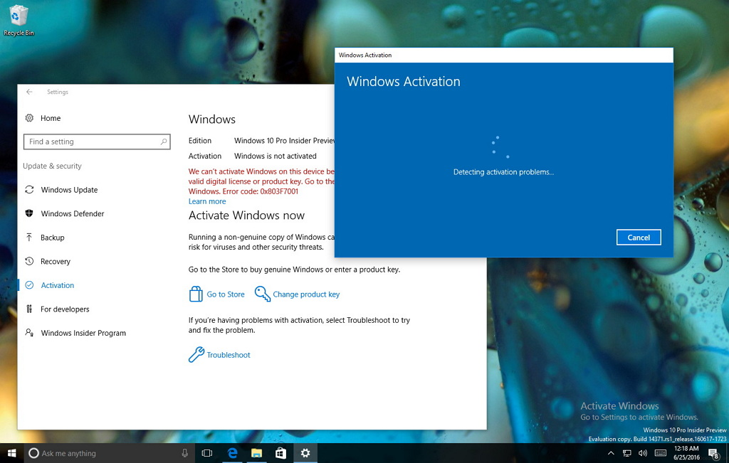 Reactivate Windows 10 with the Activation Troubleshooter