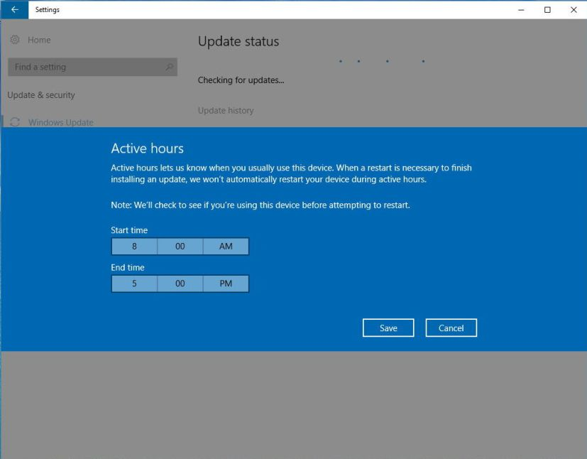 Active Hours on Windows 10 Anniversary Update