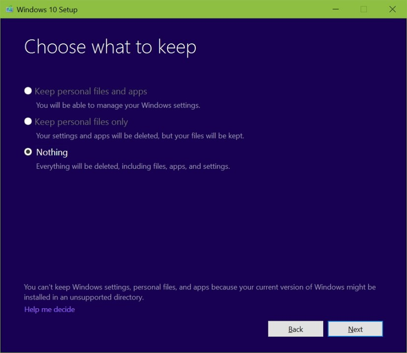 Choose what to keep during Windows 10 upgrade