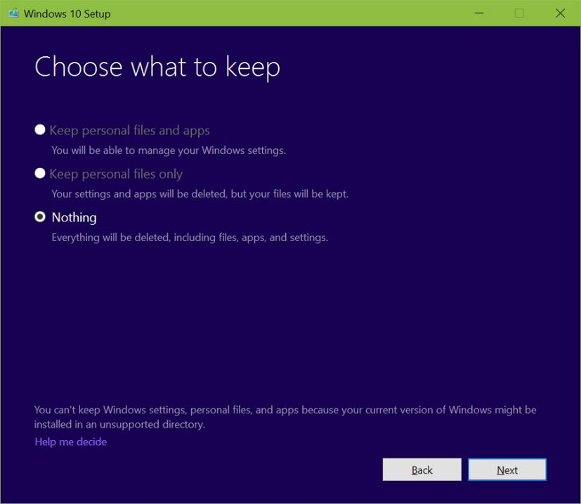 Choose what to keep during Windows 10 upgrade