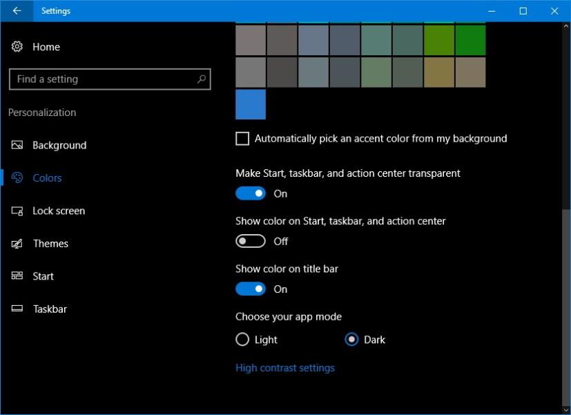 Dark mode on Windows 10 Anniversary Update