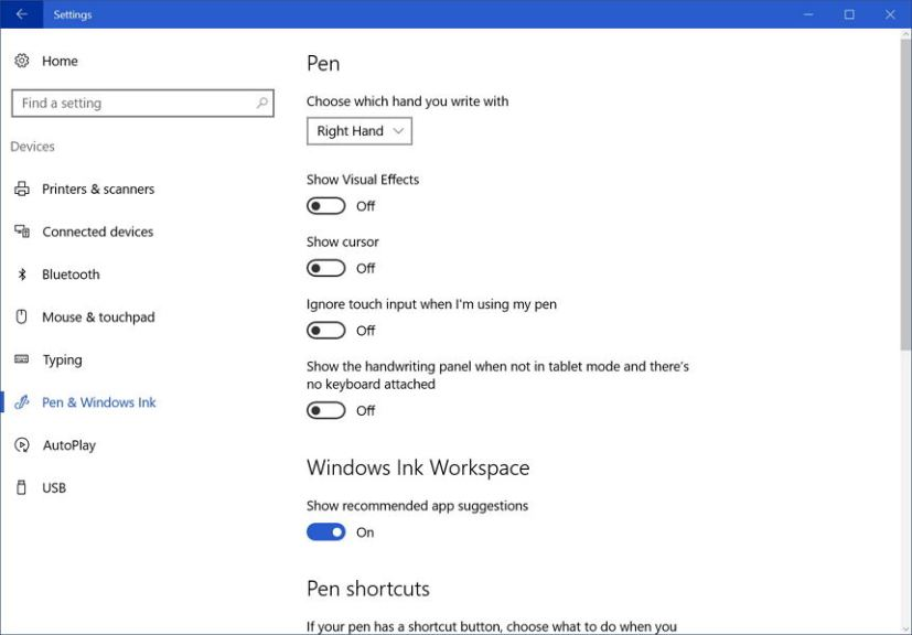 Disable pen cursor on Windows Ink