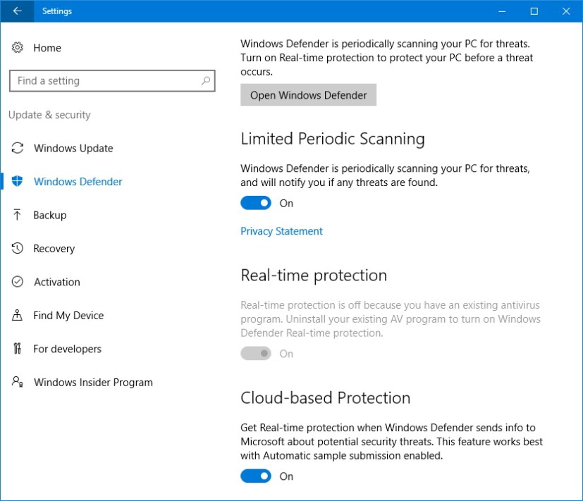 Limited Periodic Scanning for Windows Defender