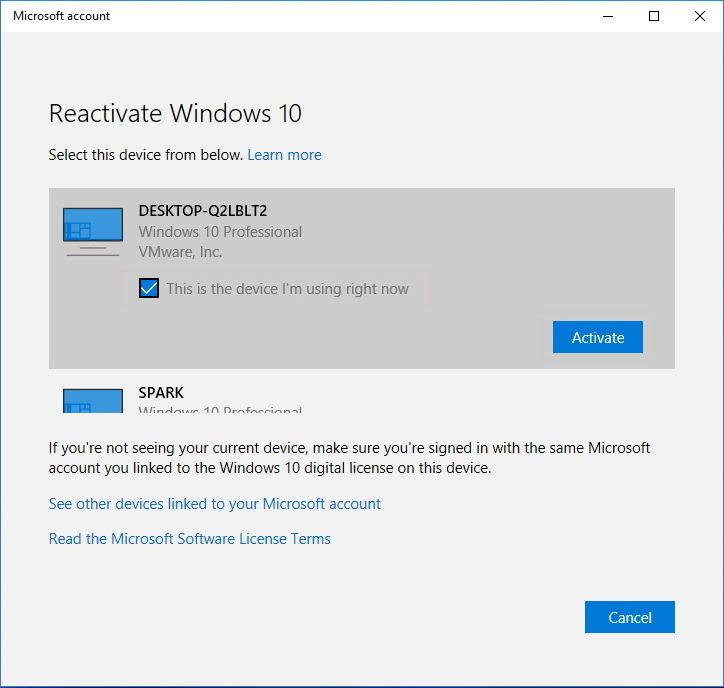 Reactivate Windows 10 after hardware change