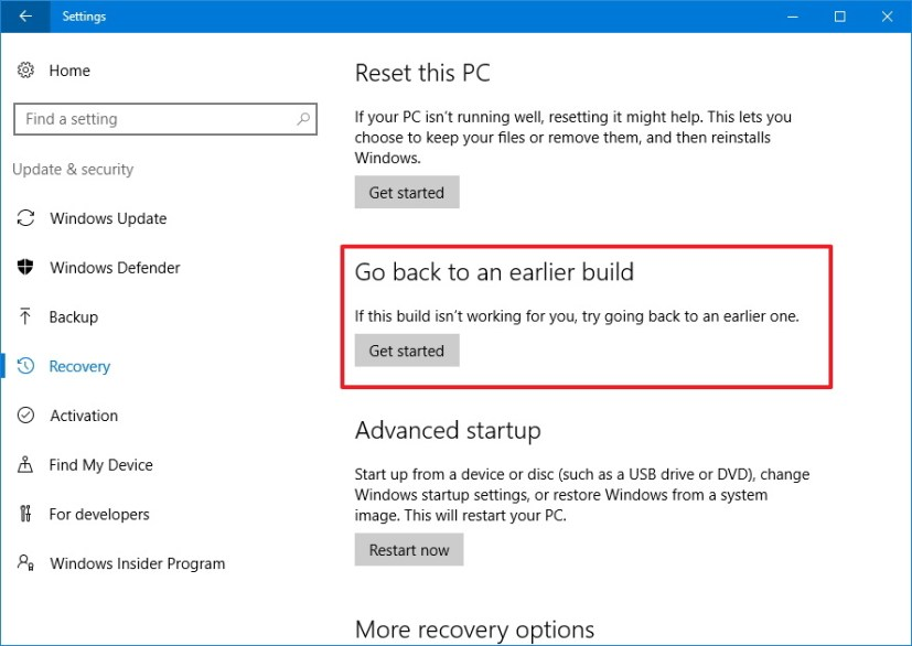 Recovery - Rollback to previous version of Windows 10