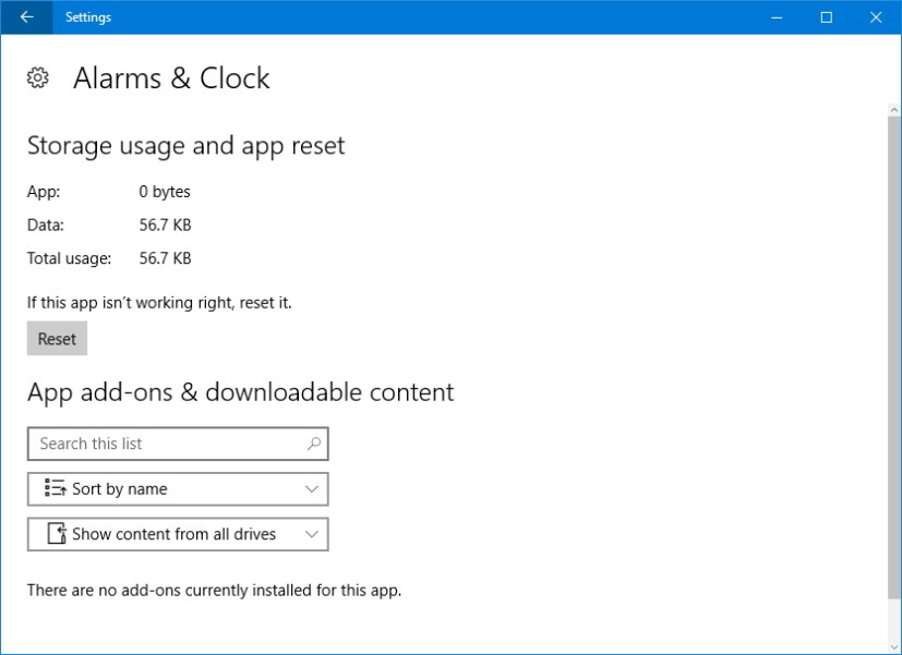 Reset app on Windows 10 Anniversary Update