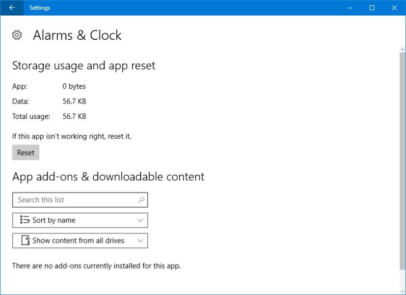 Reset app on Windows 10 Anniversary Update