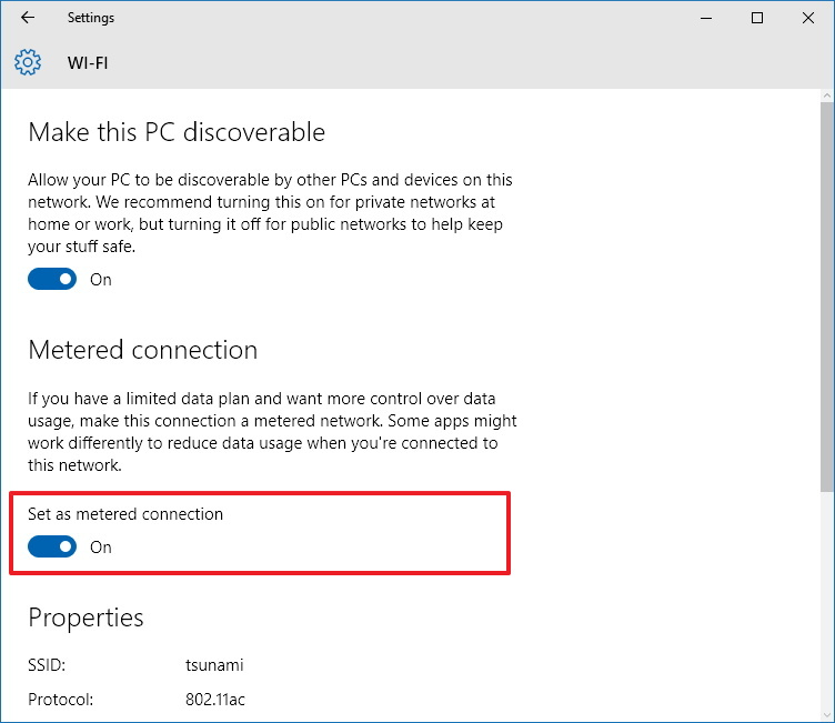 Set as metered connection Wi-Fi option on Windows 10