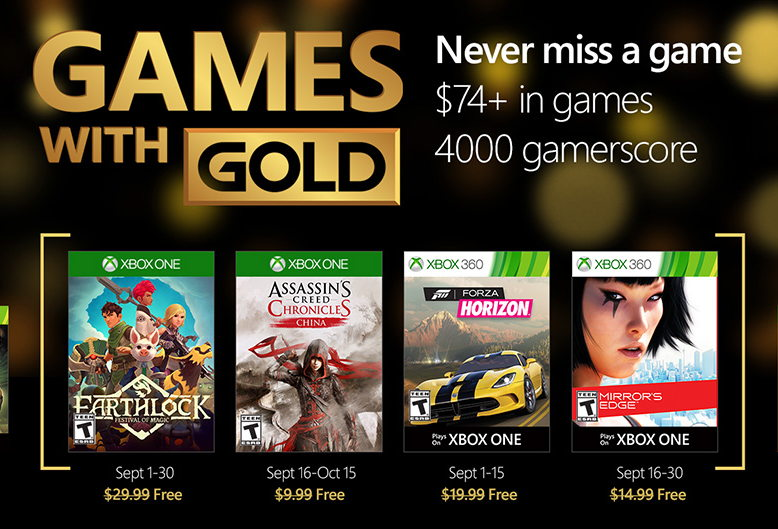 September 2016 free games for Xbox One and Xbox 360