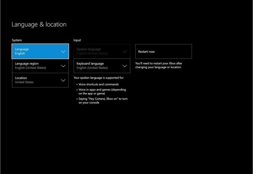 Xbox One Language & Location