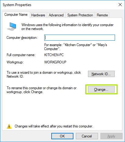 Computer name tab, Change button