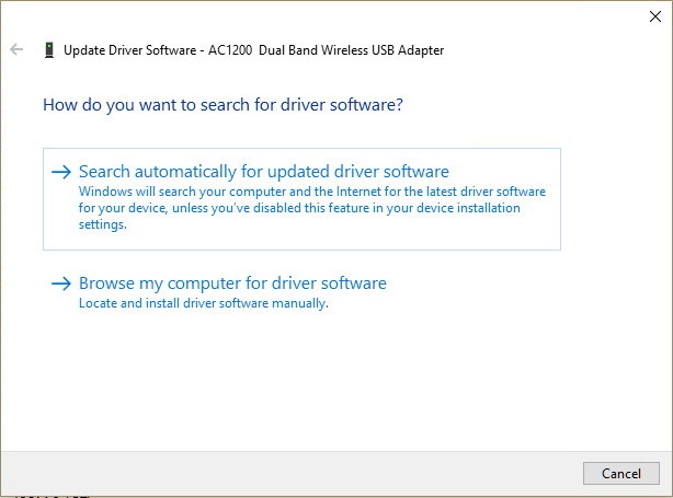 Choose how to install network adapter driver software