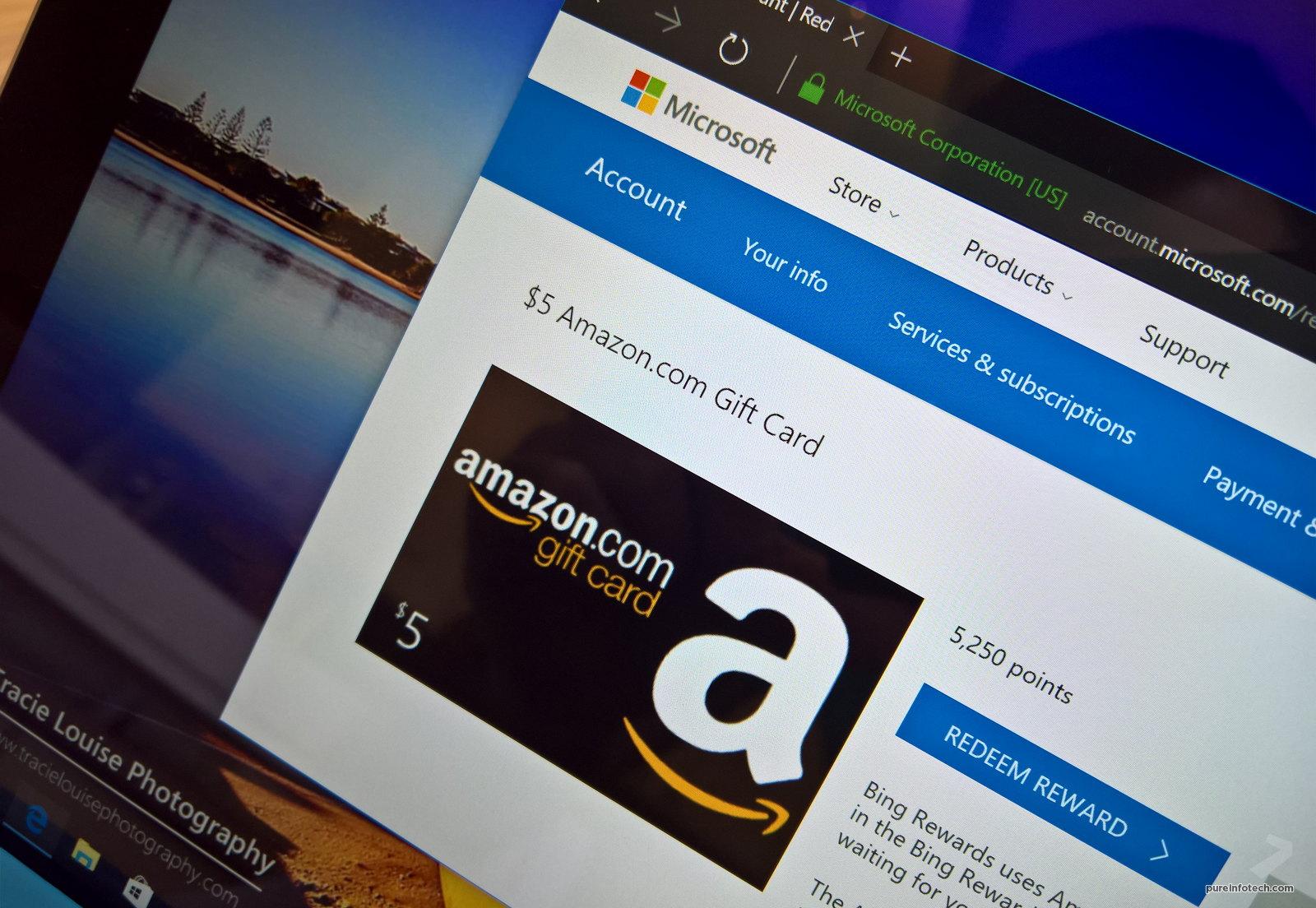 Microsoft Rewards Amazon gift card redeem points