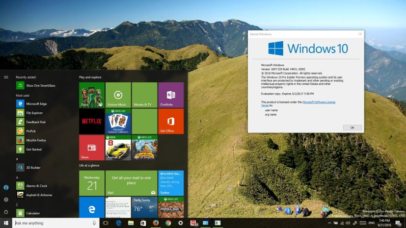 Windows 10 build 14931