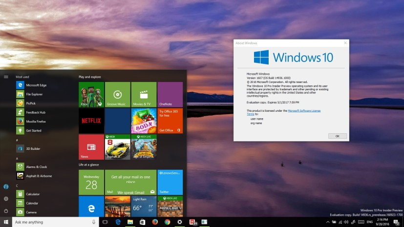 Windows 10 build 14936 part of the Redstone 2 update