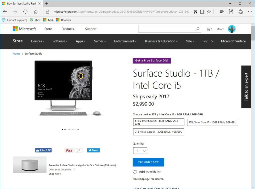 Surface Studio ships in early 2017