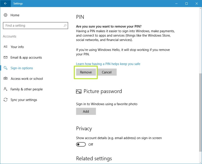 Remove PIN from your Windows 10 account