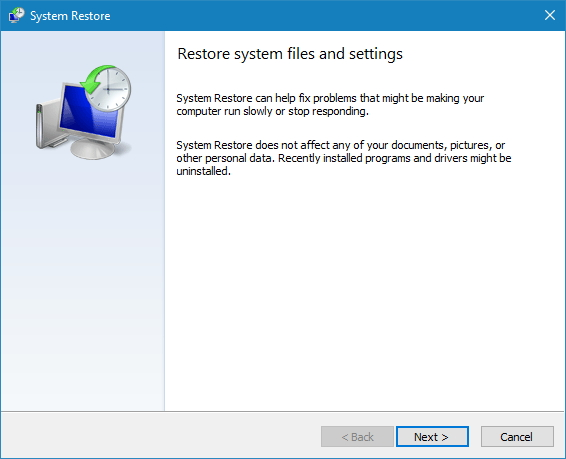 Restore System Files and Settings wizard