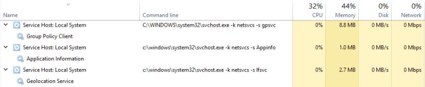 Services on Windows 10 Redstone 2
