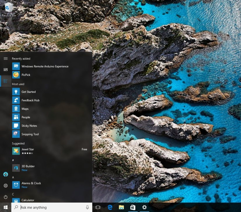 Start menu All apps view